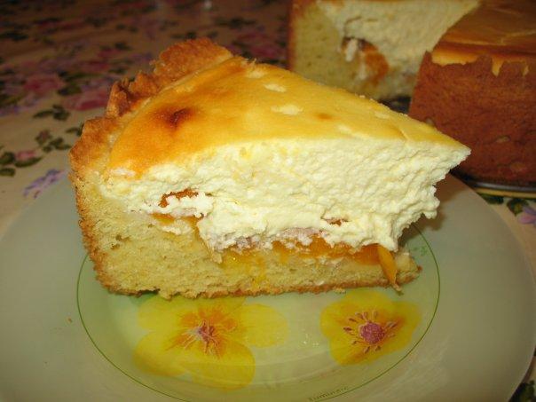пирог творожный с абрикосами